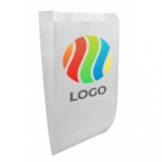 Пакет бумажный плоское дно белый с ЛОГОТИПОМ