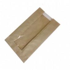 Пакет бумажный 180х100х40мм с окном плоское дно крафт