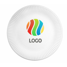Тарелка бумажная 230мм круглая рифлёная ламинированная с ЛОГОТИПОМ