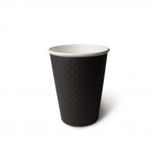 Стакан бумажный для горячих напитков двухслойный гофрированный Waffle Black 300мл