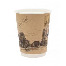 Стакан для горячих напитков двухслойный Города мира крафт 300мл бумага