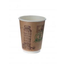 Стакан для горячих напитков двухслойный Города мира крафт 250мл бумага
