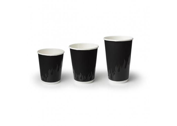 Стакан бумажный для горячих напитков двухслойный Огонь 300мл черный SOFT TOUCH